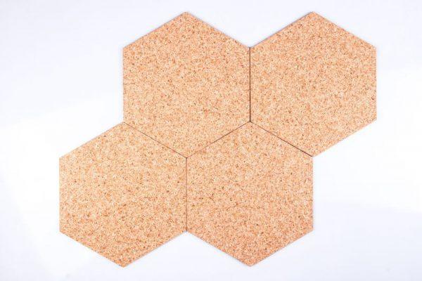 Tableau autocollant du liège Hexagon Natural