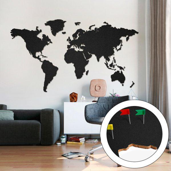 Carte de liège Carte du monde Grosse Noire 200 x 105cm